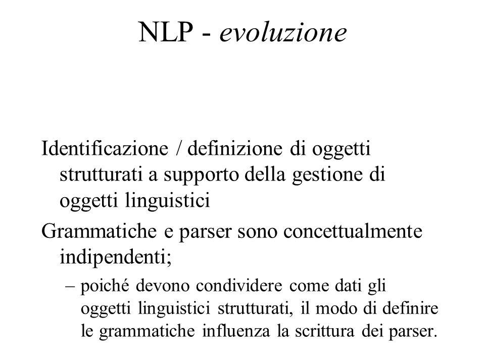 NLP - evoluzione Identificazione / definizione di oggetti strutturati a supporto della gestione di oggetti linguistici.