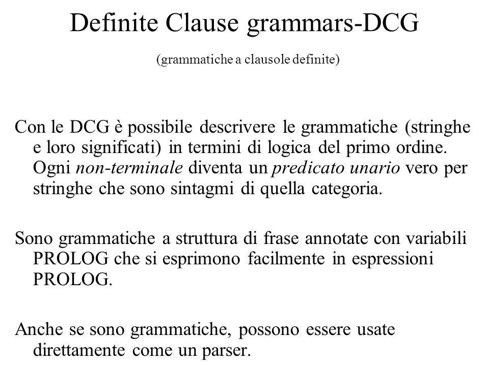 Definite Clause grammars-DCG (grammatiche a clausole definite)