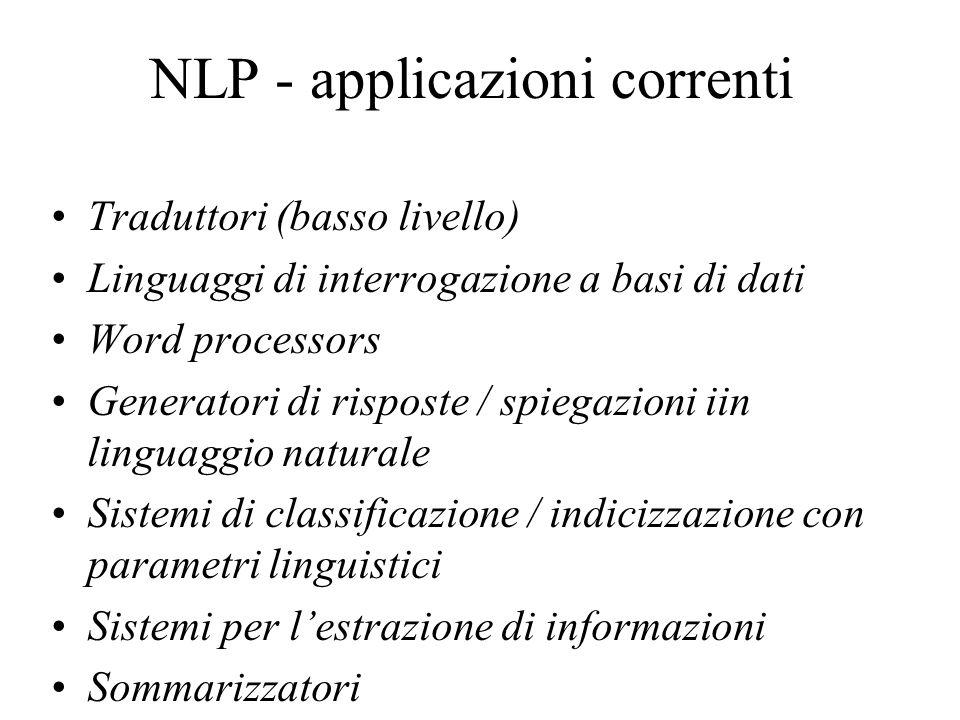 NLP - applicazioni correnti