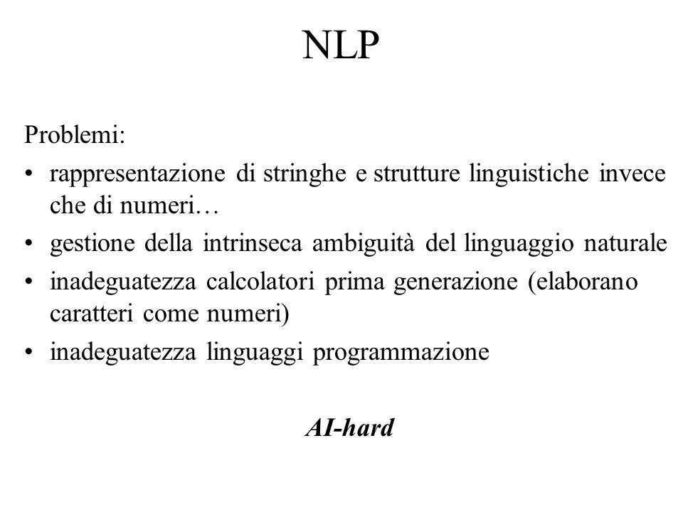 NLP Problemi: rappresentazione di stringhe e strutture linguistiche invece che di numeri…