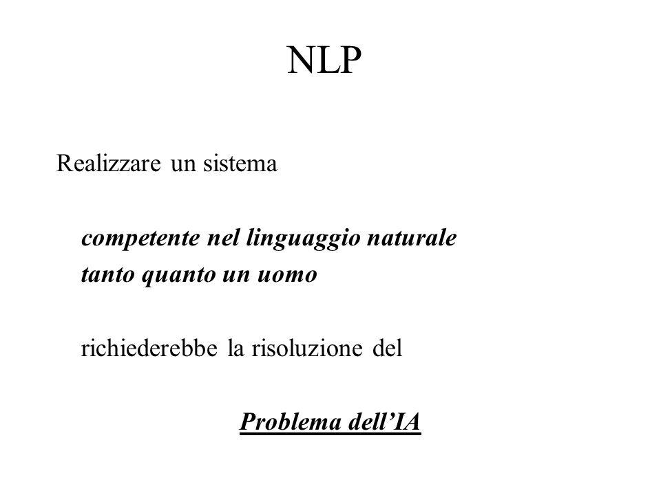 NLP Realizzare un sistema competente nel linguaggio naturale