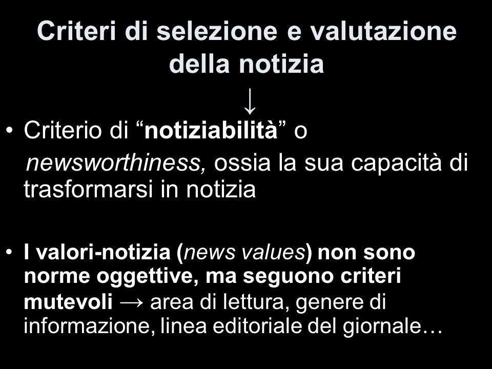 Criteri di selezione e valutazione della notizia ↓
