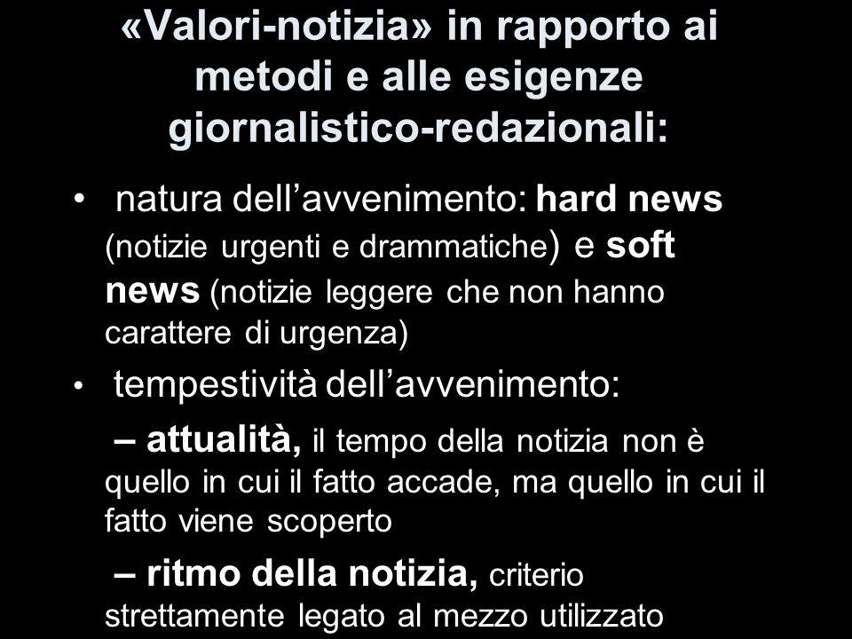 «Valori-notizia» in rapporto ai metodi e alle esigenze giornalistico-redazionali:
