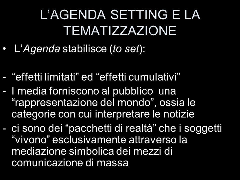 L'AGENDA SETTING E LA TEMATIZZAZIONE