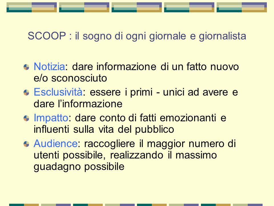 SCOOP : il sogno di ogni giornale e giornalista