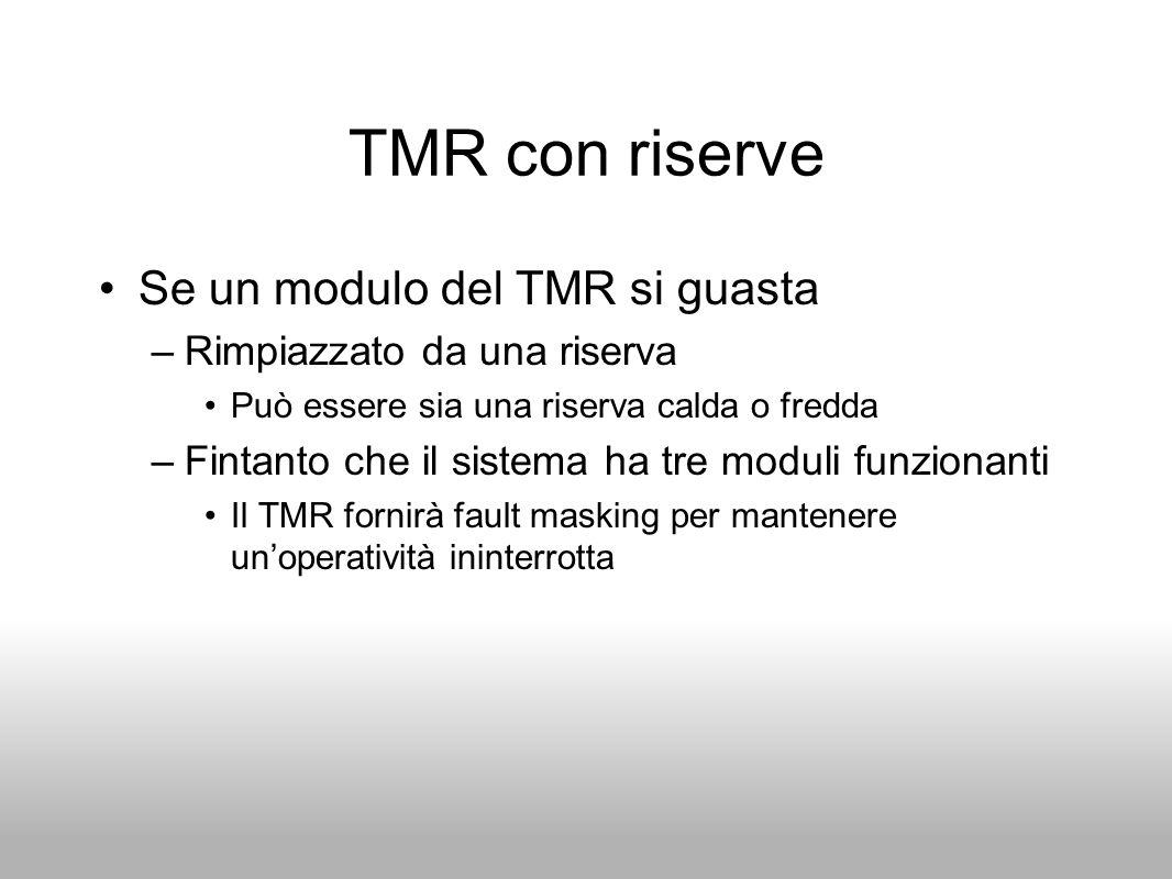 TMR con riserve Se un modulo del TMR si guasta