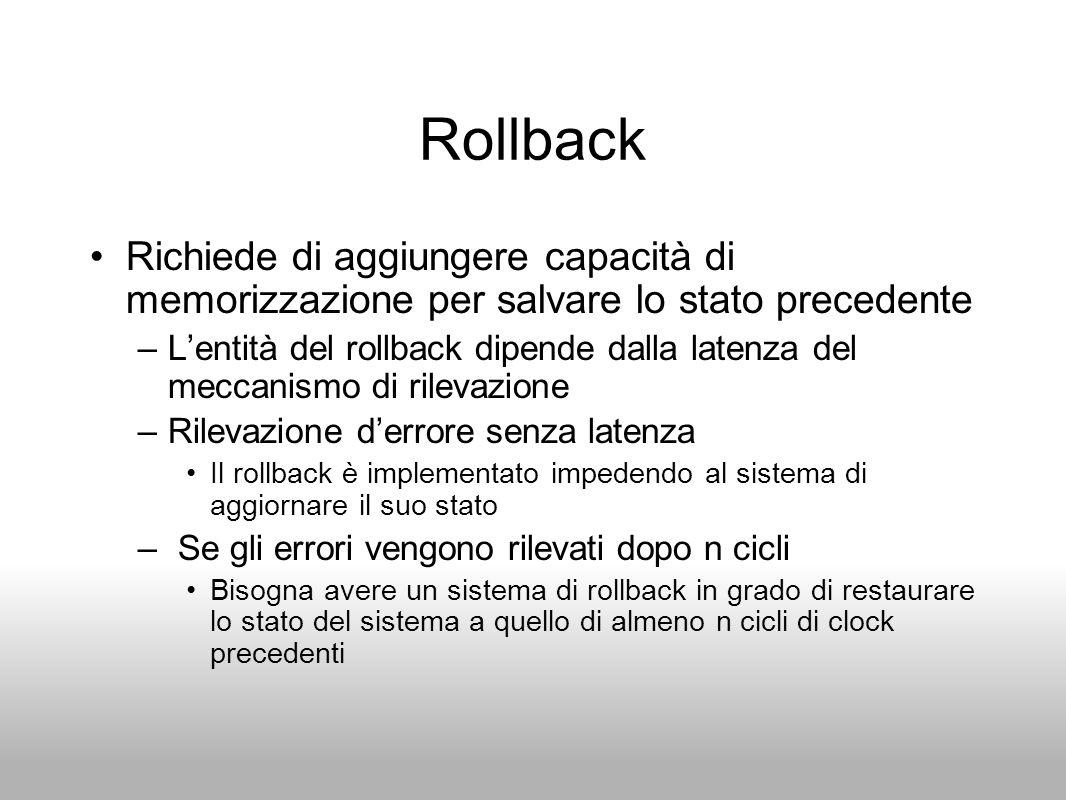 Rollback Richiede di aggiungere capacità di memorizzazione per salvare lo stato precedente.