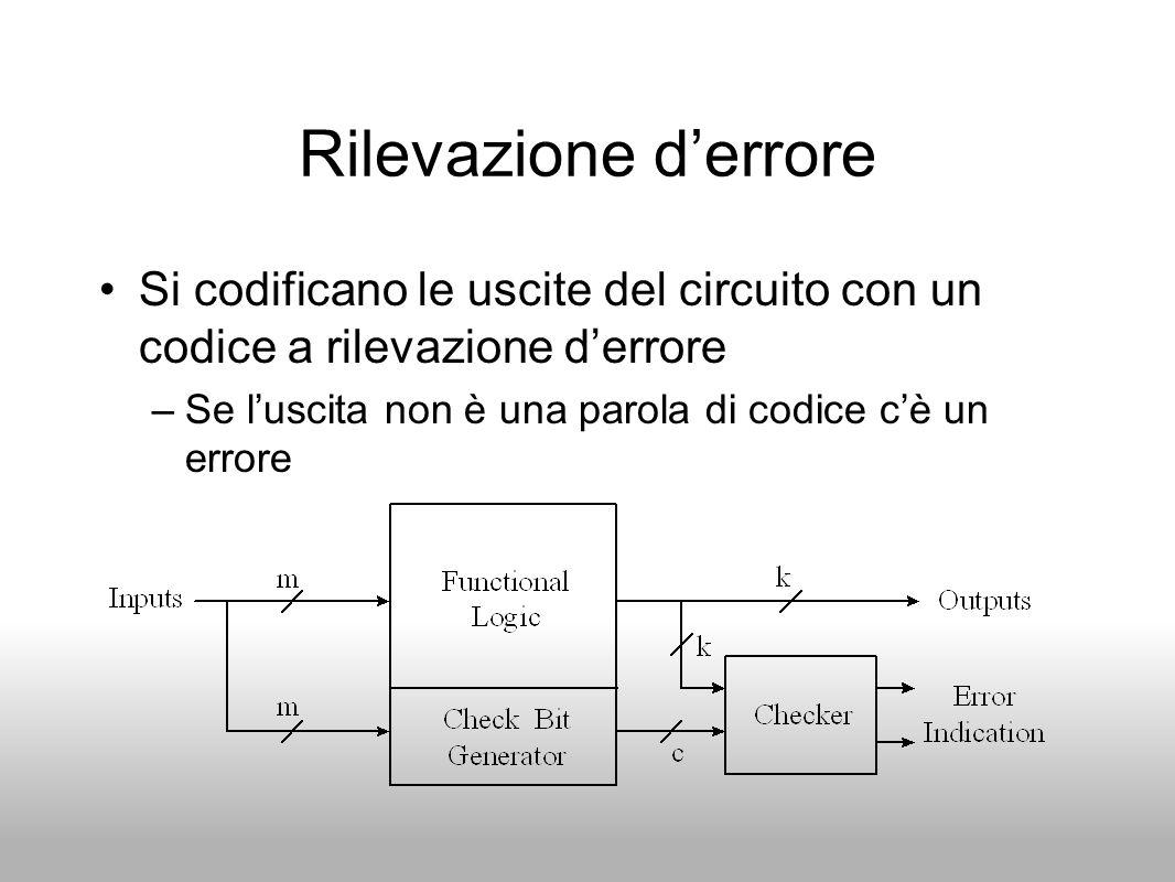 Rilevazione d'errore Si codificano le uscite del circuito con un codice a rilevazione d'errore.