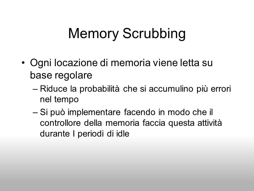 Memory Scrubbing Ogni locazione di memoria viene letta su base regolare. Riduce la probabilità che si accumulino più errori nel tempo.