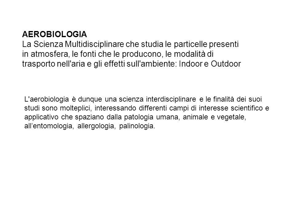 AEROBIOLOGIA La Scienza Multidisciplinare che studia le particelle presenti in atmosfera, le fonti che le producono, le modalità di trasporto nell aria e gli effetti sull ambiente: Indoor e Outdoor