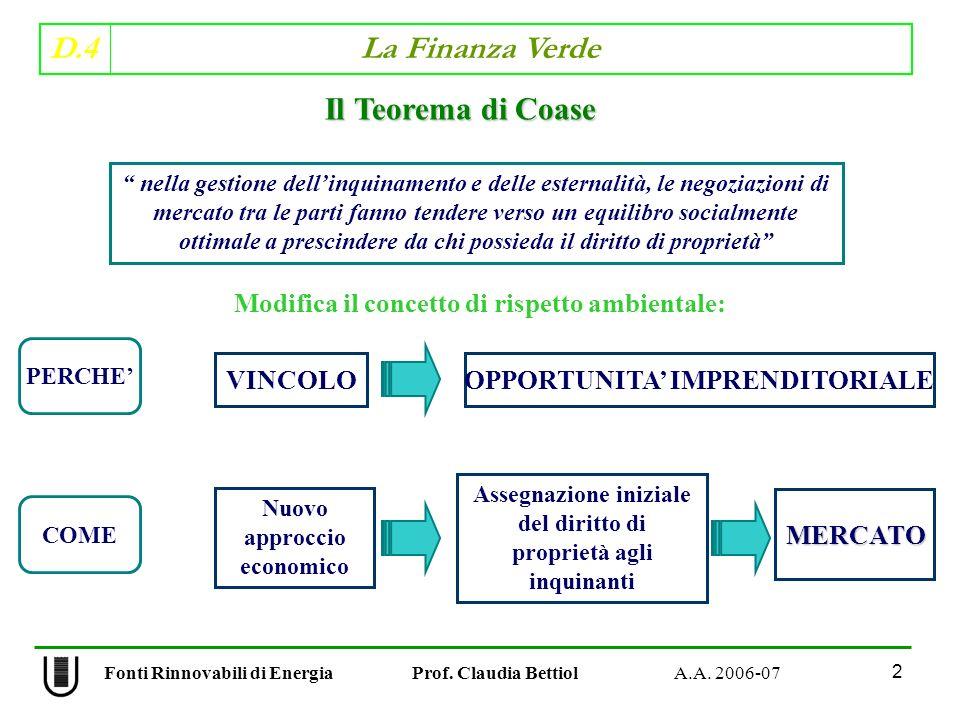 Il Teorema di Coase Modifica il concetto di rispetto ambientale: