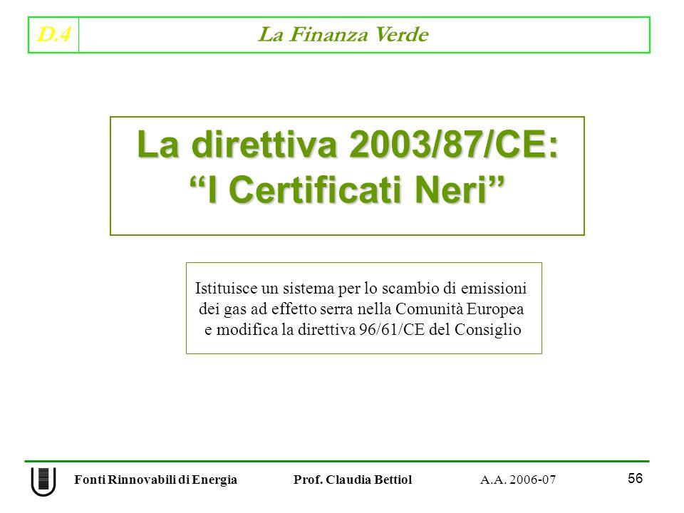 La direttiva 2003/87/CE: I Certificati Neri