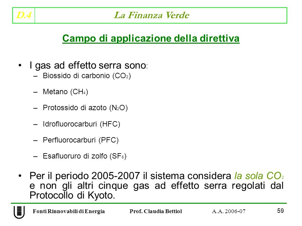 Campo di applicazione della direttiva