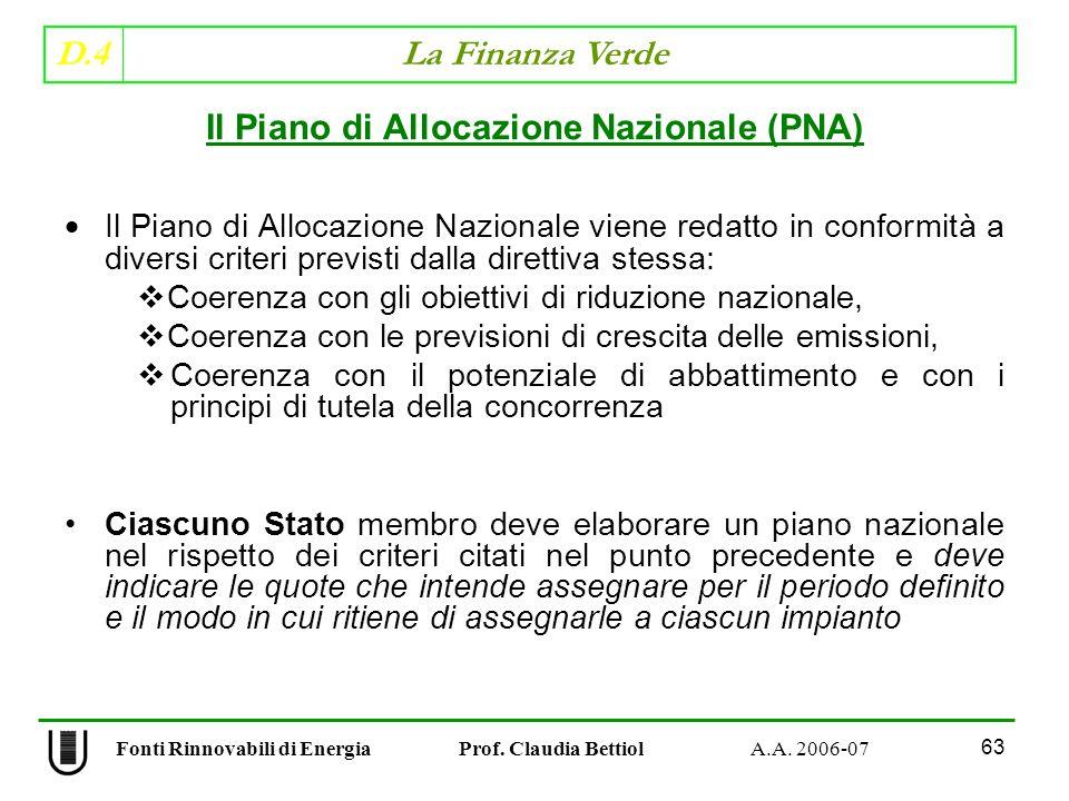 Il Piano di Allocazione Nazionale (PNA)