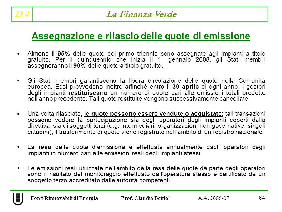 Assegnazione e rilascio delle quote di emissione