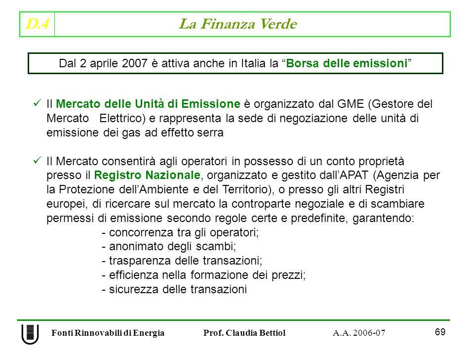 Dal 2 aprile 2007 è attiva anche in Italia la Borsa delle emissioni