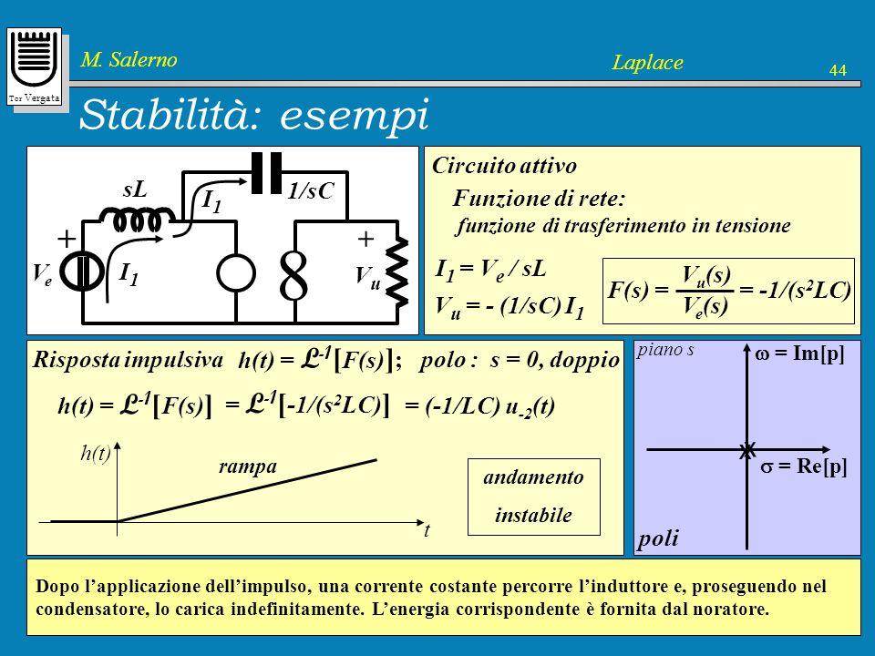 8 Stabilità: esempi + x Vu Ve sL 1/sC Circuito attivo