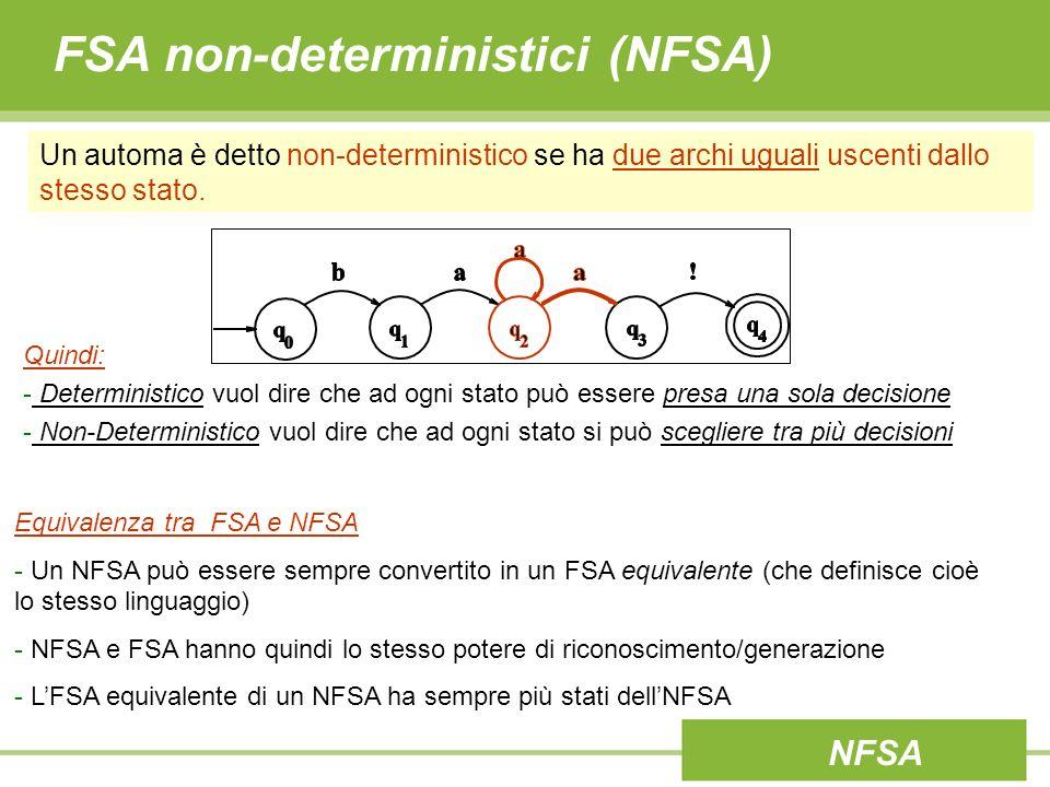 FSA non-deterministici (NFSA)