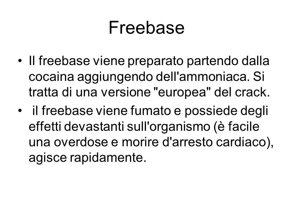 FreebaseIl freebase viene preparato partendo dalla cocaina aggiungendo dell ammoniaca. Si tratta di una versione europea del crack.