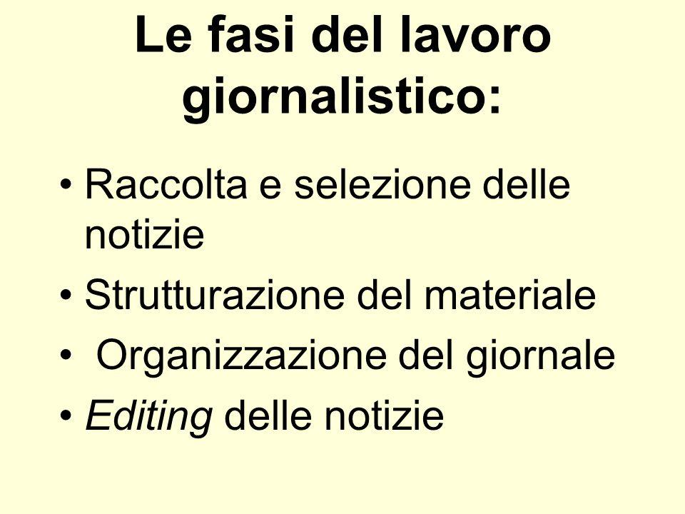 Le fasi del lavoro giornalistico: