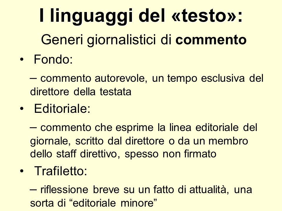 I linguaggi del «testo»: Generi giornalistici di commento