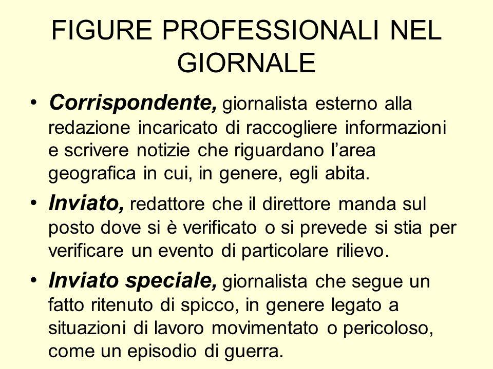 FIGURE PROFESSIONALI NEL GIORNALE