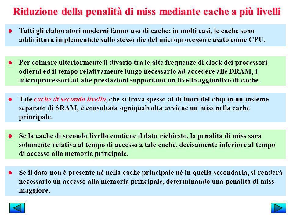 Riduzione della penalità di miss mediante cache a più livelli