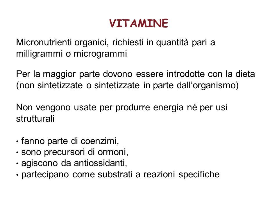VITAMINE Micronutrienti organici, richiesti in quantità pari a milligrammi o microgrammi.