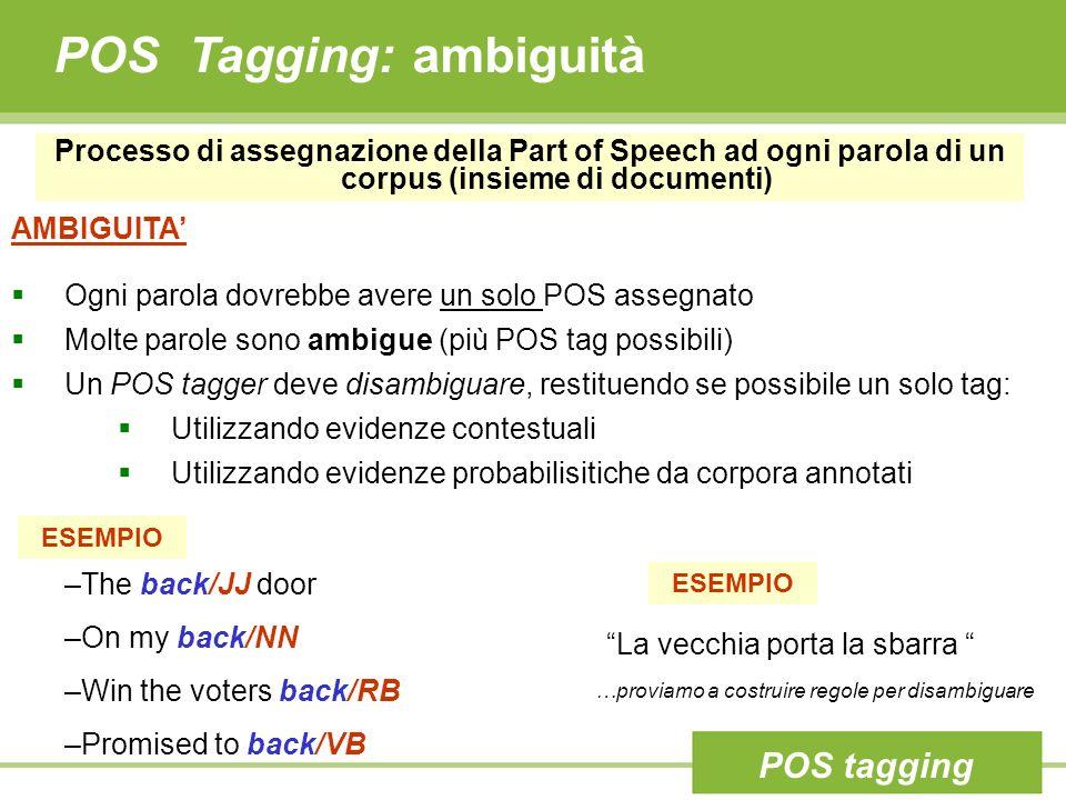 POS Tagging: ambiguità