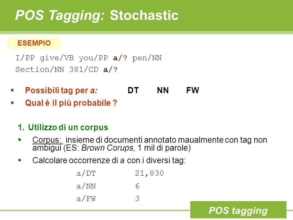 POS Tagging: Stochastic