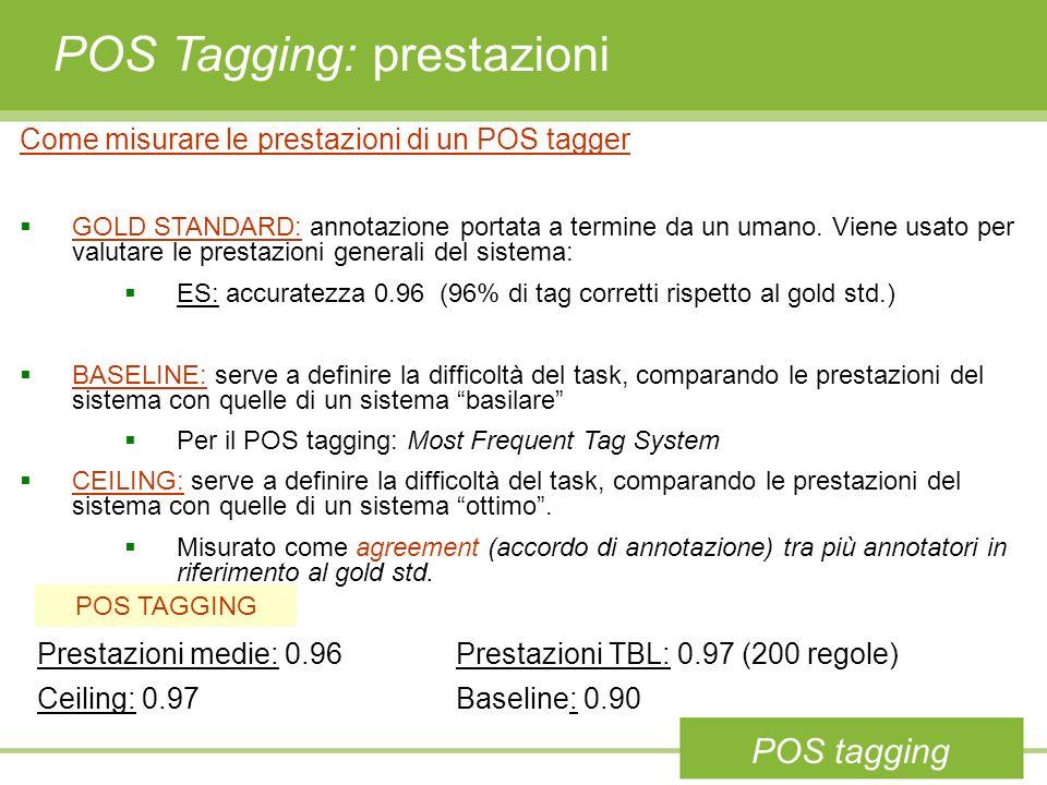 POS Tagging: prestazioni