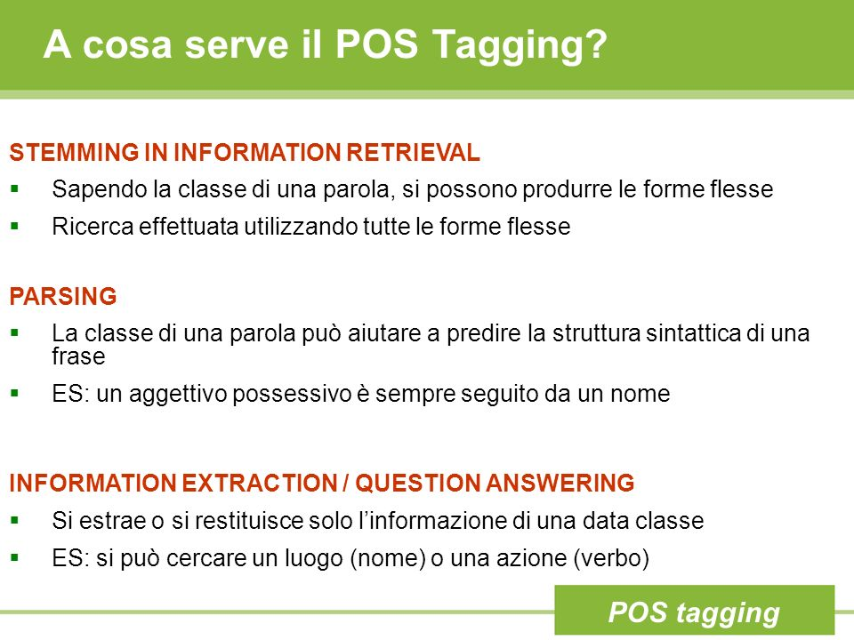 A cosa serve il POS Tagging