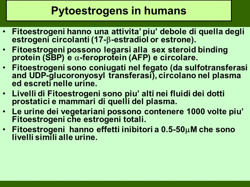 Pytoestrogens in humans