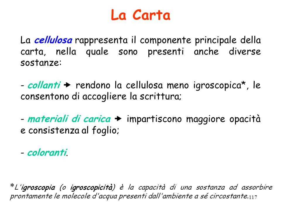 La Carta La cellulosa rappresenta il componente principale della carta, nella quale sono presenti anche diverse sostanze: