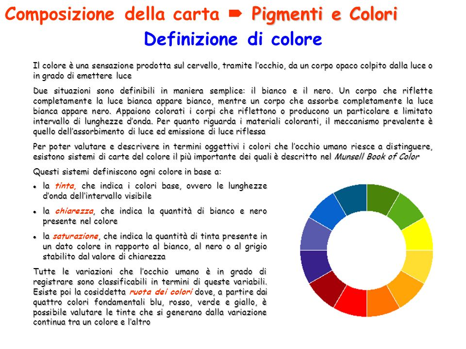 Composizione della carta  Pigmenti e Colori Definizione di colore