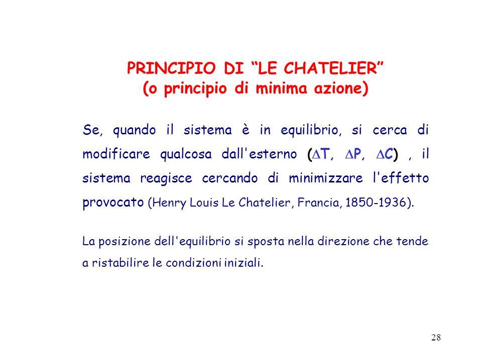 PRINCIPIO DI LE CHATELIER (o principio di minima azione)