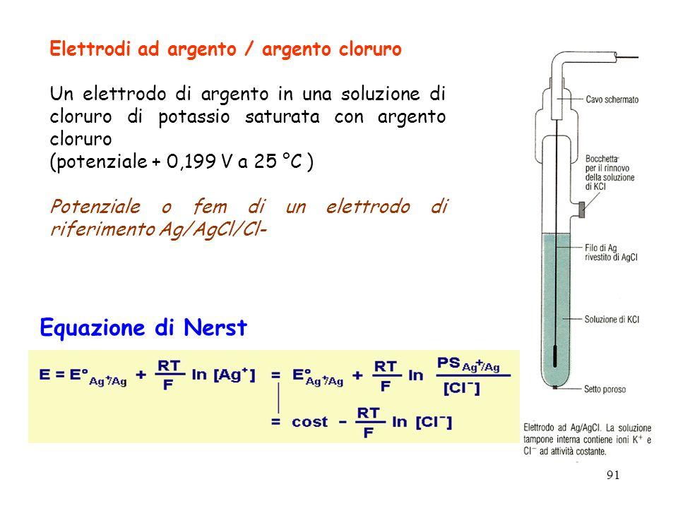 Equazione di Nerst Elettrodi ad argento / argento cloruro