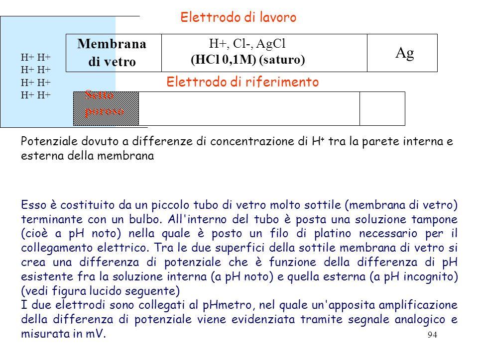 Ag Membrana di vetro Elettrodo di lavoro H+, Cl-, AgCl