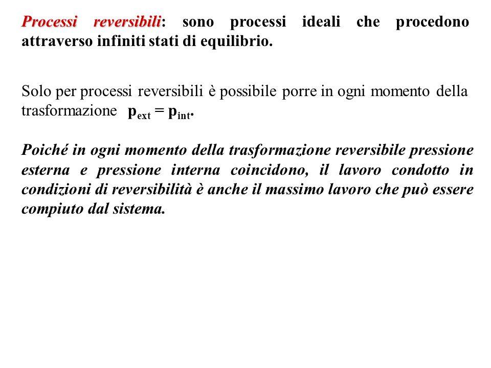 Processi reversibili: sono processi ideali che procedono attraverso infiniti stati di equilibrio.
