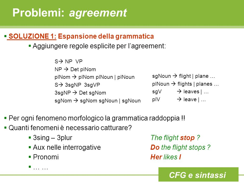 Problemi: agreement CFG e sintassi