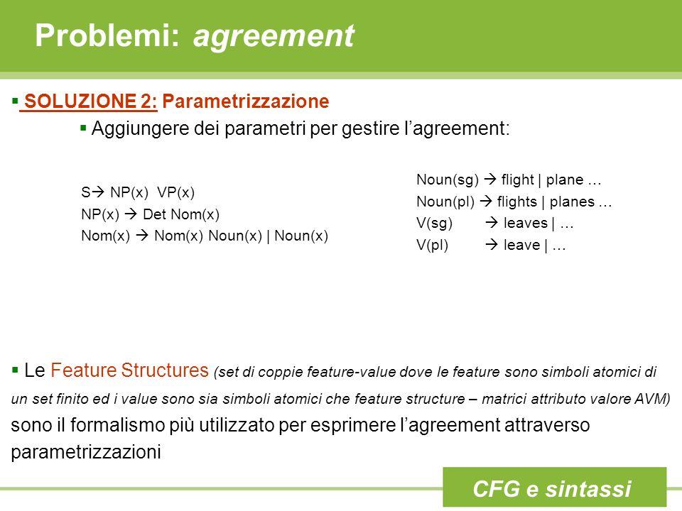 Problemi: agreement CFG e sintassi SOLUZIONE 2: Parametrizzazione