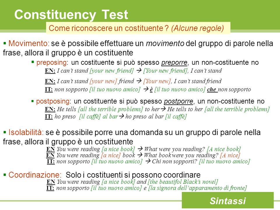 Constituency Test Sintassi