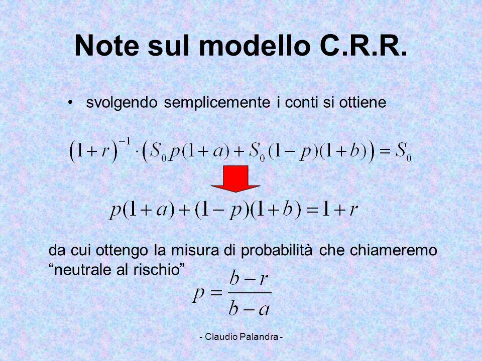 Note sul modello C.R.R. svolgendo semplicemente i conti si ottiene
