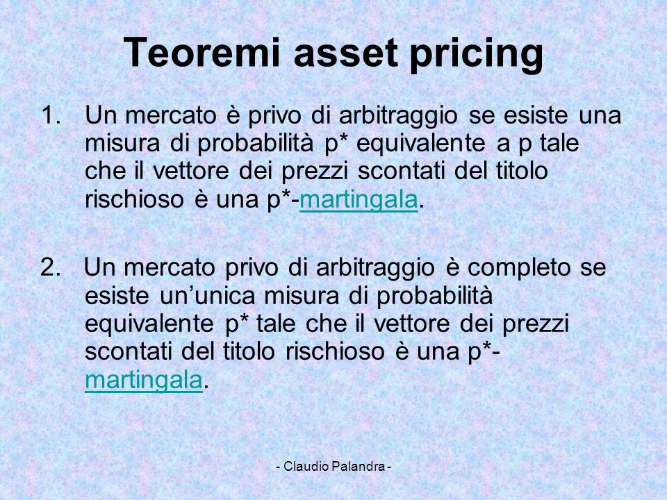 Teoremi asset pricing