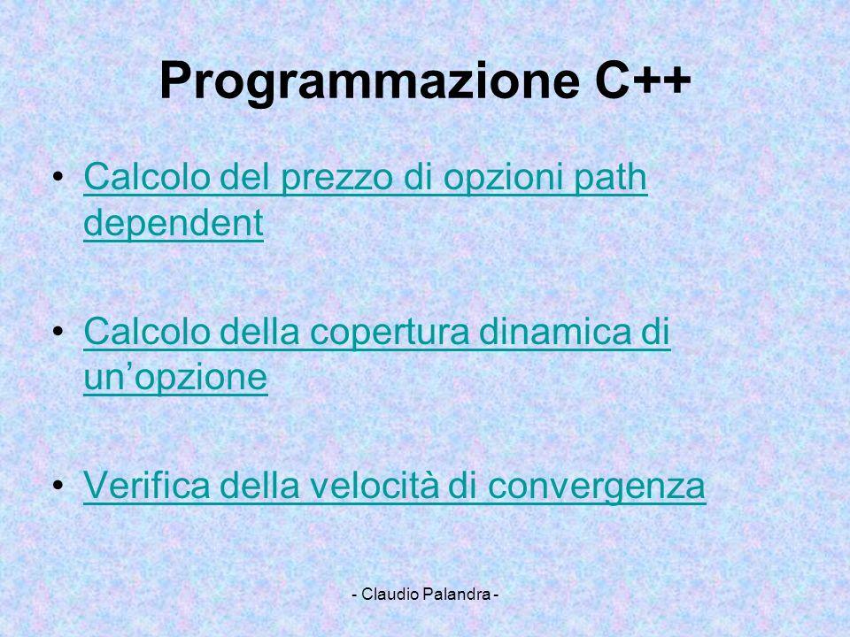 Programmazione C++ Calcolo del prezzo di opzioni path dependent