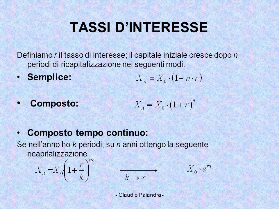 TASSI D'INTERESSE Composto: Semplice: Composto tempo continuo: