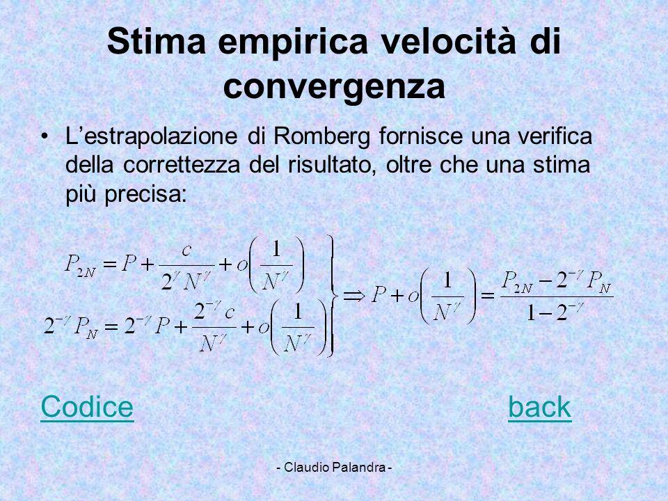 Stima empirica velocità di convergenza