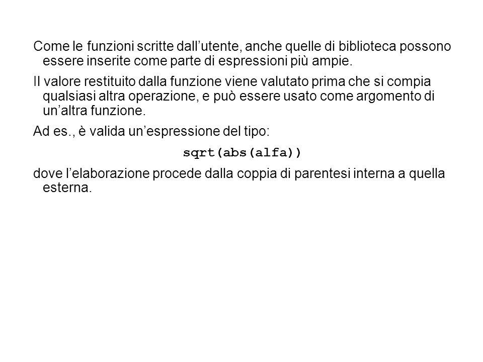 Come le funzioni scritte dall'utente, anche quelle di biblioteca possono essere inserite come parte di espressioni più ampie.