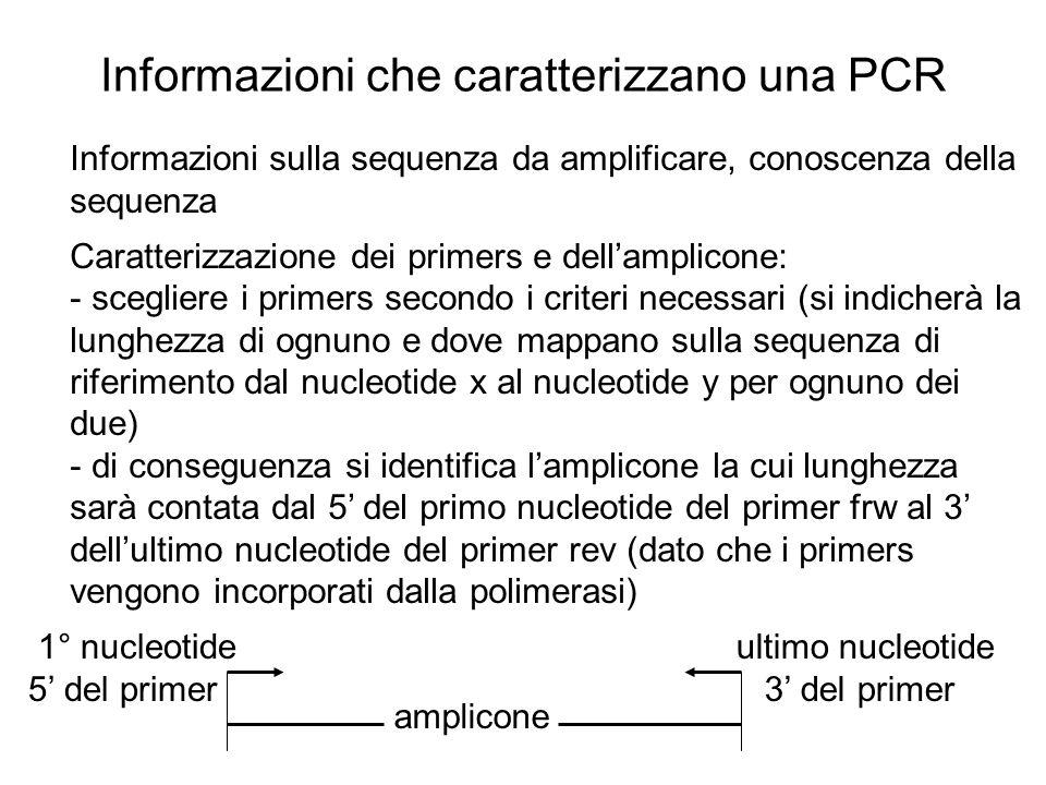 Informazioni che caratterizzano una PCR