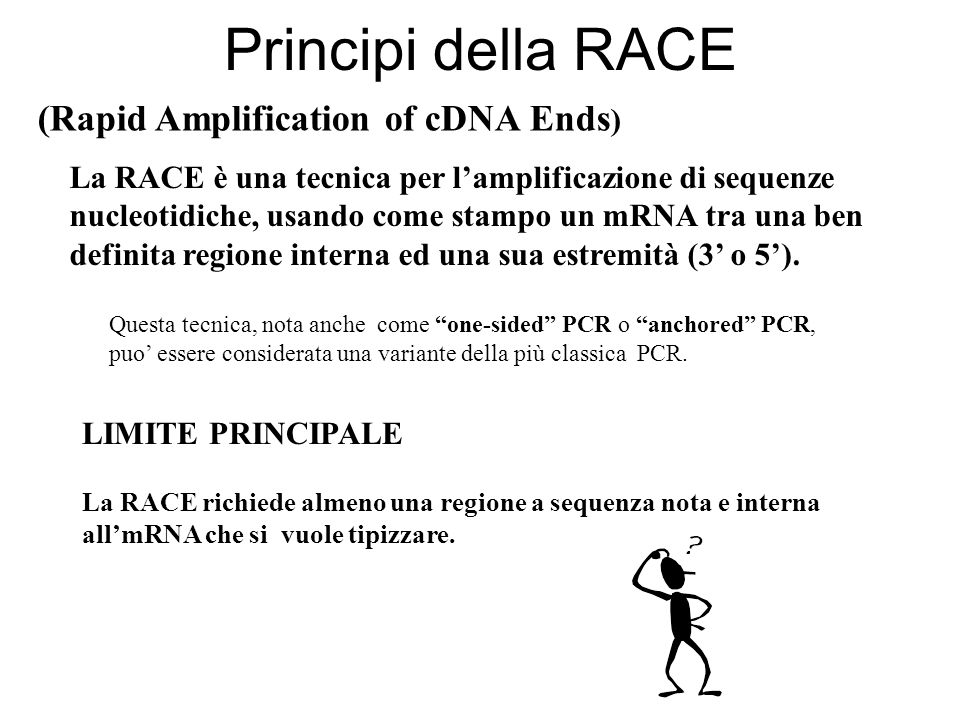 Principi della RACE (Rapid Amplification of cDNA Ends)